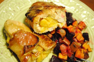 Peach Stuffed Bacon Wrapped Chicken 1